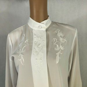 Vintage Yves St Clair Womens Blouse Size 6 White